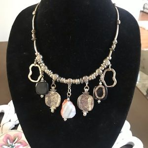 Jewelry - Silver Tone & Stones Statement Necklace